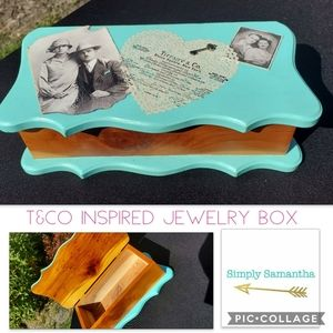 Handcrafted Teal Cedar Wood Jewelry Box Vintage